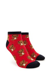 Forever 21 Squirrel Print Ankle Socks Red Multi