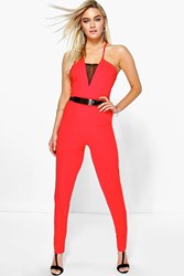 Boohoo Mesh Front Panel Jumpsuit And Belt Red