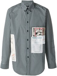 Martine Rose Patchwork Gingham Button Down Shirt Green