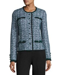St. John Fazier Tweed Knit Jacket Green Pattern