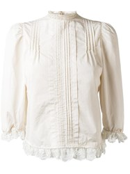 Dsquared2 Ruffled Hem Pleated Blouse Nude Neutrals