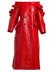 Simone Rocha Off The Shoulder Patent Double Breasted Coat Red