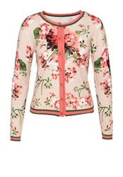 Hallhuber Floral Cardigan With Lurex Inserts Multi Coloured Multi Coloured