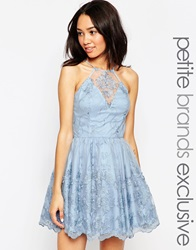 Chi Chi Petite Halter Neck Lace Prom Dress Blue