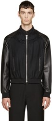 99 Is Black Wool And Leather Embellished Bomber Jacket