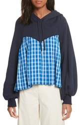 Sea 'S Plaid Balloon Sleeve Combo Hoodie Navy X Blue Check
