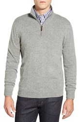 Men's Big And Tall John W. Nordstrom Quarter Zip Cashmere Sweater Grey Driftwood