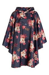 Joules Right As Rain Print Packable Hooded Poncho French Navy Bircham Bloom