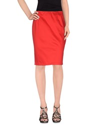 Clips More Skirts Knee Length Skirts Women Red