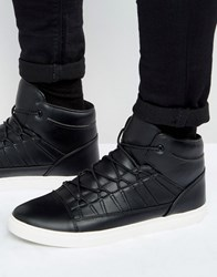 Asos High Top Trainers In Black With Perforated Tongue Black