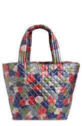 M Z Wallace Mz 'Medium Metro' Quilted Oxford Nylon Tote Red Leaf Print Oxford