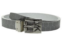 Michael Michael Kors 25Mm Reversible Saffiano To Jet Set Embossed Logo Belt On Cut Out Mk Logo Buckle Silver Pewter Women's Belts
