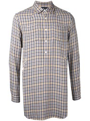 Undercover Checked Longline Shirt Men Rayon 2 Yellow Orange