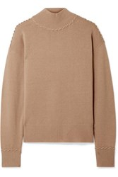 Theory Whipstitched Cashmere Turtleneck Sweater Camel