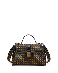 Bottega Veneta Piazzo Small Stained Glass Napa Ayers Top Handle Satchel Bag Black Pattern