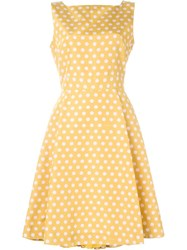 Rochas Polka Dot Print Flared Dress Yellow And Orange