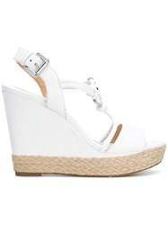 Michael Michael Kors Logo Wedge Sandals White