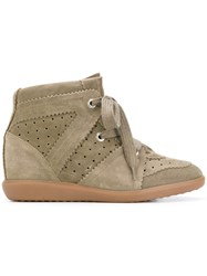 Isabel Marant Bobby Wedge Sneakers Women Leather Pig Leather Rubber 40 Nude Neutrals