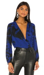 Amanda Uprichard Crossover Bodysuit In Blue. Navy Black Tie Dye