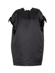 Giles Bow Sleeve Contrast Collar Satin Dress