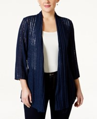 Jm Collection Plus Size Three Quarter Sleeve Open Front Cardigan Only At Macy's Intrepid Blue