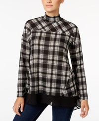 Styleandco. Style Co. Plaid Mock Neck Top Only At Macy's Teabiscuit Plaid
