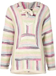 The Elder Statesman Striped Hooded Sweater Pink And Purple