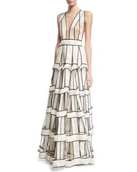 Jenny Packham Piped Silk Satin Organza Cage Gown White Black White Black