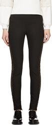 Stella Mccartney Black Net Stripe Leggings