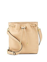 Cole Haan Benson Drawstring Leather Crossbody Bag Nude