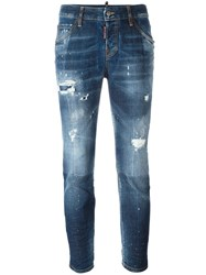 Dsquared2 Cool Girl Cropped Distressed Jeans Blue