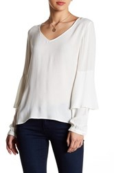 Kensie Ruffled Long Sleeve Blouse White