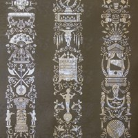 Flavor Paper Great Hall Wallpaper Graphite On Silver Pony Skin Foil