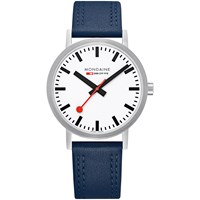 Mondaine Unisex Double Stitch Leather Strap Watch Navy White A660.30360.16Sbq