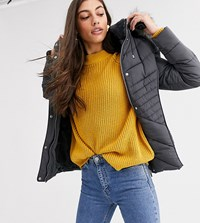 New Look Tall Fitted Puffer Jacket In Grey