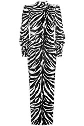 Alessandra Rich Printed Velvet Gown With Silk Animal Print