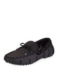 Swims Mesh And Rubber Braided Lace Boat Shoe Black