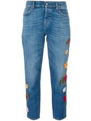 7 For All Mankind Floral Embroidered Jeans Blue