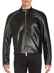 Dsquared Textured Leather Jacket Black