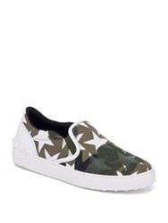 Valentino Camustars Canvas Slip On Sneakers Army