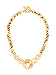 Givenchy Vintage 1980S Vintage Chain Faux Pearl Necklace Metallic