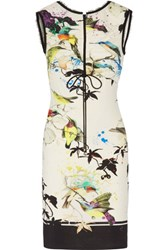 Roberto Cavalli Ruched Printed Stretch Jersey Mini Dress Multi