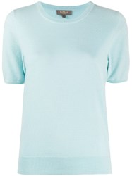 N.Peal Crew Neck Cashmere T Shirt Blue