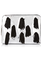 3.1 Phillip Lim 31 Minute Suede Fringed Metallic Leather Clutch