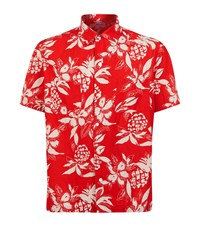 Saint Laurent Pineapple Print Bowling Shirt Male Red