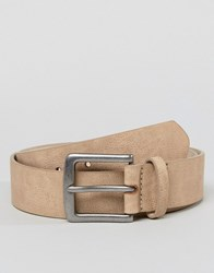Asos Design Vegan Wide Belt In Stone Faux Leather With Vintage Silver Buckle Tan