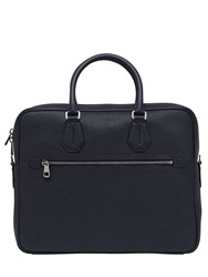Bally Pebbled Leather Briefcase Navy