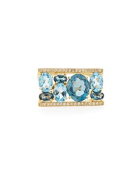 Vianna B.R.A.S.I.L Blue Topaz And London Blue Topaz Channel Ring Size 8