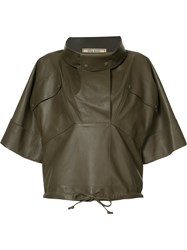 Nina Ricci Boxy High Neck Top Women Leather Xs Green