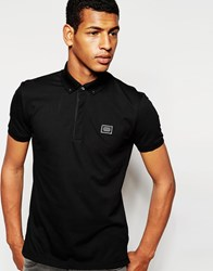 Antony Morato Polo Shirt With Metal Collar Tips Black